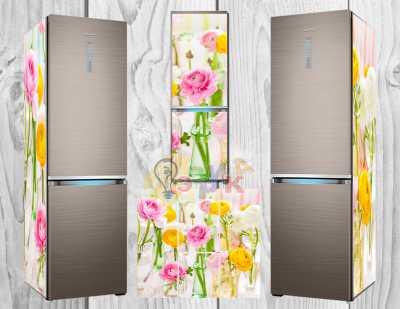 Фото: Дизайнерские наклейки на холодильник Цветочки