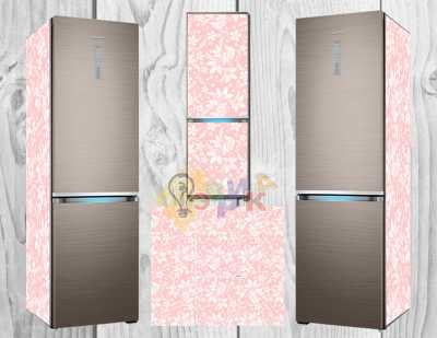 Фото: Дизайнерские наклейки на холодильник Розовый фон