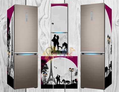 Фото: Дизайнерские наклейки на холодильник Романтик