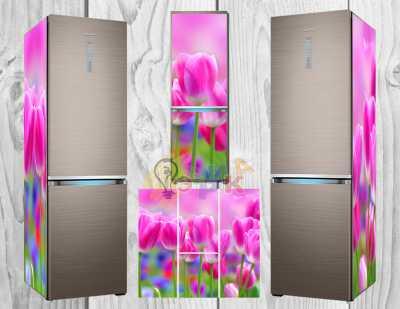 Фото: Дизайнерские наклейки на холодильник Тюльпаны