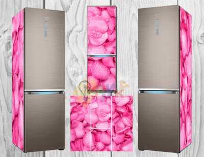 Фото: Дизайнерские наклейки на холодильник Лепестки роз