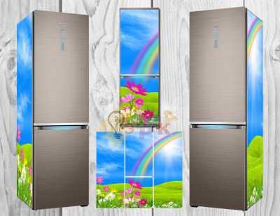 Фото: Дизайнерские наклейки на холодильник Радуга