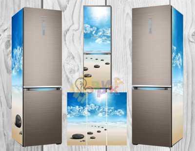 Фото: Дизайнерские наклейки на холодильник Камни спа