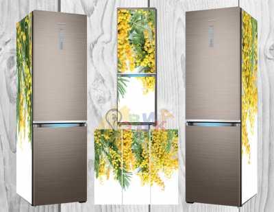 Фото: Дизайнерские наклейки на холодильник Мимоза