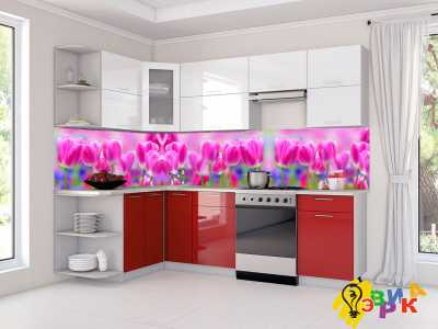 Фото: Фартук для кухни из пластика Тюльпаны