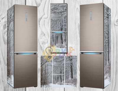 Фото: Дизайнерские наклейки на холодильник Снег