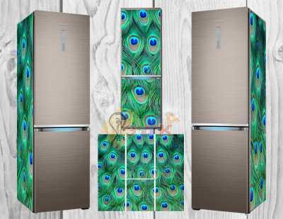 Фото: Дизайнерские наклейки на холодильник Павлин мавлин
