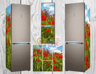 Фото: Дизайнерские наклейки на холодильник Маковое изобилие