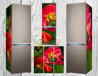 Фото: Дизайнерские наклейки на холодильник Маковые бутоны