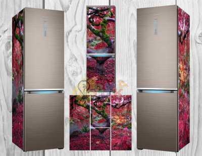Фото: Дизайнерские наклейки на холодильник Осень в Японии