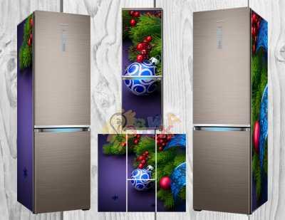 Фото: Дизайнерские наклейки на холодильник Новогодние мотивы