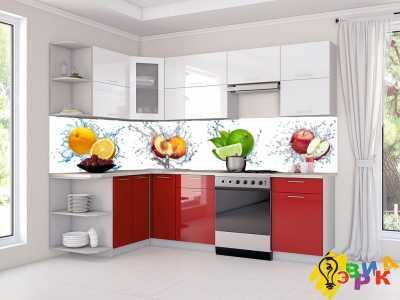 Фото: Фартук для кухни из пластика Фрукты в брызгах