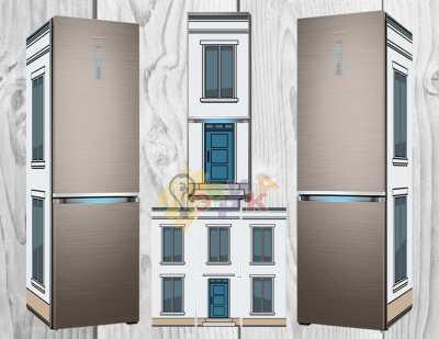 Фото: Дизайнерские наклейки на холодильник Домики