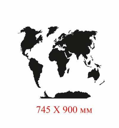 Фото: Меловая карта мира. Грифельная карта мира.