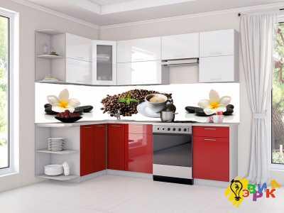 Фото: Фартук для кухни из пластика Кофейно цветочные мотивы