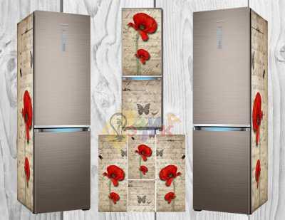 Фото: Наклейка на холодильник Премиум Маки винтаж