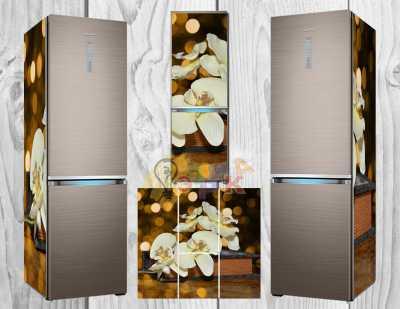 Фото: Дизайнерские наклейки на холодильник Кремовая орхидея