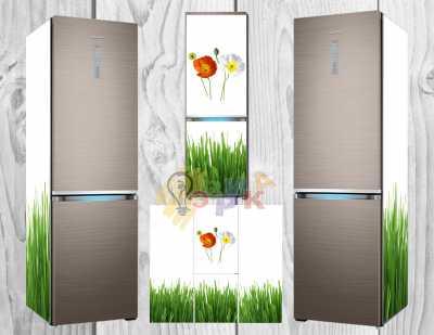 Фото: Дизайнерские наклейки на холодильник Зеленая трава