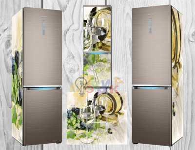 Фото: Дизайнерские наклейки на холодильник Бокалы арт