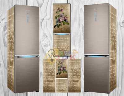 Фото: Дизайнерские наклейки на холодильник Розы винтаж