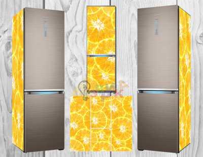 Фото: Дизайнерские наклейки на холодильник Апельсиновые дольки