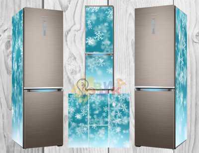 Фото: Дизайнерские наклейки на холодильник Снежинки