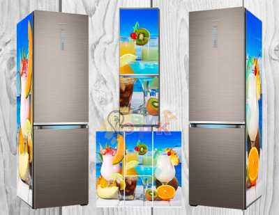 Фото: Дизайнерские наклейки на холодильник Коктейли