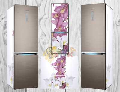 Фото: Дизайнерские наклейки на холодильник Премиум Орхидеи