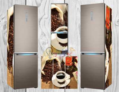 Фото: Дизайнерские наклейки на холодильник Мешковина