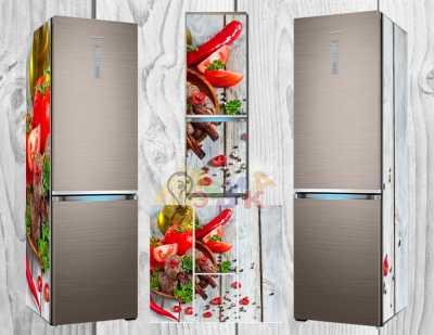 Фото: Дизайнерские наклейки на холодильник Продукты ассорти