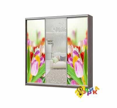 Фото: Дизайнерские наклейки на шкаф купе Тюльпаны