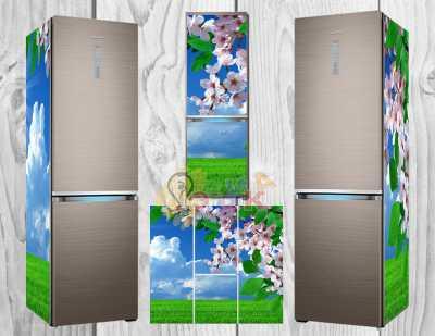 Фото: Дизайнерские наклейки на холодильник Яблоня