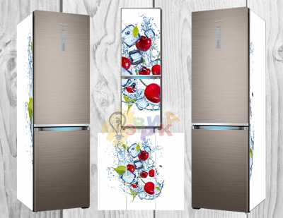 Фото: Дизайнерские наклейки на холодильник Вишни
