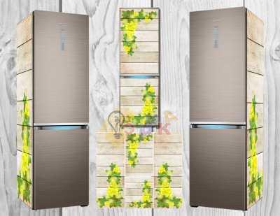 Фото: Дизайнерские наклейки на холодильник фон деревянный