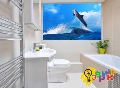 Фото: Виниловые наклейки в ванную премиум Дельфин