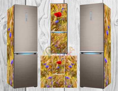 Фото: Виниловая наклейка на холодильник Маки и пшеница