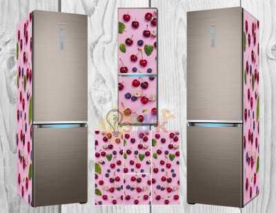 Фото: Виниловая наклейка на холодильник Вишни
