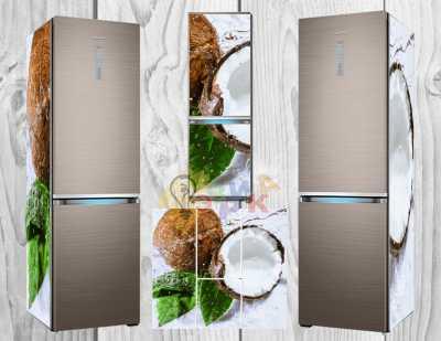 Фото: Виниловая наклейка на холодильник Тропик