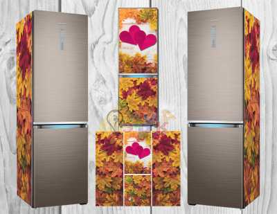 Фото: Виниловая наклейка на холодильник Клен