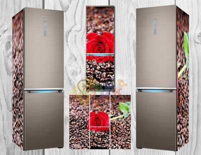 Фото: Виниловая наклейка на холодильник Кофейные зерна